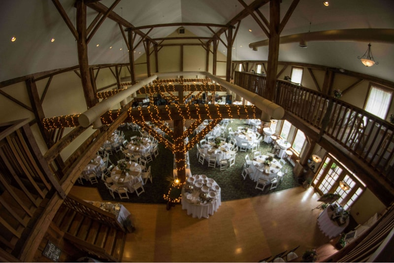 Liberty Hall Wedding Setup from upstairs balcony